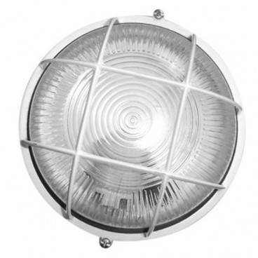 Round thermoplastic wall light with grid WHITE E27 GSC 0700156