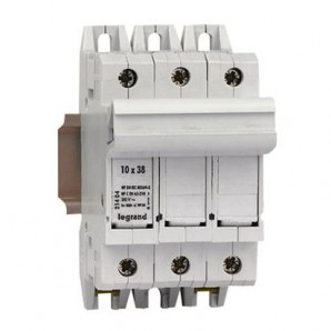 Fuse holder and fuses - Portafusibles 3P+N equipado cartucho fusible 10x38 SP 38 LEGRAND 021405