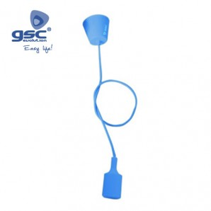 Accessories lighting - Portalámparas silicona E27 cable textil 1M - Azul GSC 000702183