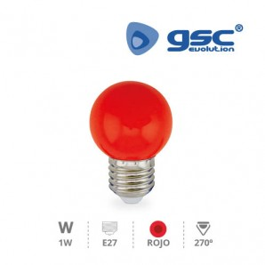 Bombillas LED - Bombilla de led esferica decorativa 1W E27 Rojo GSC 002002235