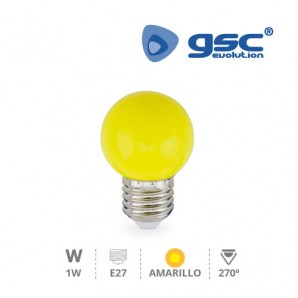 Bombillas LED - Bombilla de led esferica decorativa 1W E27 Amarillo GSC 002002236