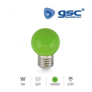 Bombillas LED - Bombilla de led esferica decorativa 1W E27 Verde GSC 002002237