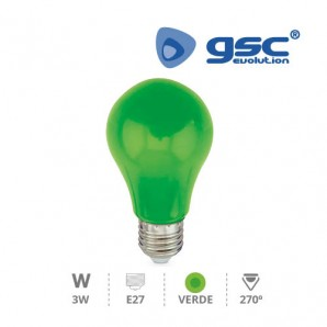 Bombillas LED - Bombilla de led estandar decorativa 3W E27 Verde GSC 002002241