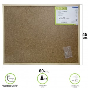 Outlet - Corcho Pared 45x60 cm. Marco Madera Con 6 Chinchetas