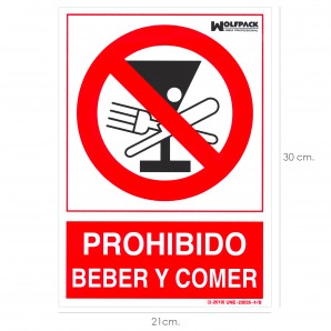 Security and clothing - Cartel Prohibido Beber y Comer 30x21cm.
