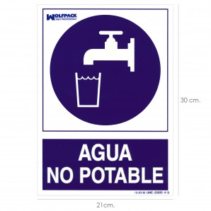 Security and clothing - Cartel Agua No Potable 30x21cm.