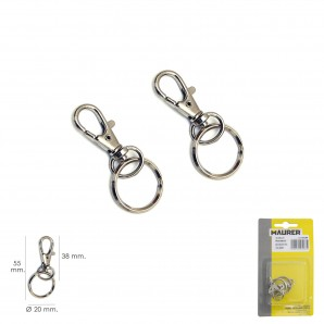 Firefighter carabiners - Mosqueton Muelle Con Anilla 45 mm. blister 2 Piezas