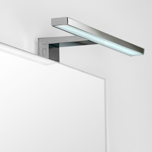 Lighting for bathroom - Emuca LED lamp over mirror, 450 mm, IP44, cool white light, Aluminium and plastic, Chrome