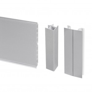 Furniture fittings - Emuca Kitchen plinth kit, with union accessories, 100 mm height, 4,7 m, plastic, satin anodized.