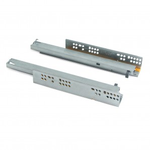 Hardware - Emuca Set of concealed drawer runners, 250 mm, total extraction, soft close, Zinc plated