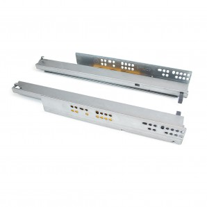 Furniture fittings - Emuca Set of concealed drawer runners, 400 mm, total extraction, push system, Zinc plated
