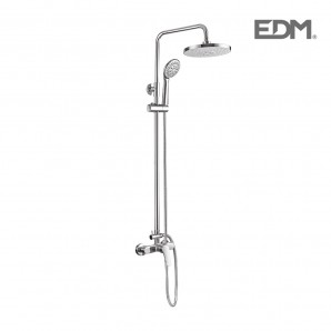 Bathroom faucets, shower and tub - Barra baño con monomando, rociador superior, flexo y mango de ducha edm EDM 01146