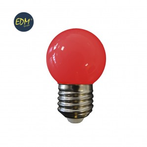 Led bulbs colors - BOMBILLA LED ESFERICA MATE E27 1,5W 200 LUMENS ROJA  EDM 35445