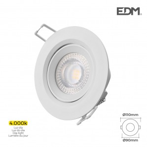 Rings recessed - Downlight led empotrable 5w 4.000k redondo marco blanco edm EDM 31631