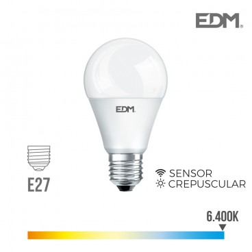 Standard twilight bulb led e27 10w 800 lm 6400k cold light edm EDM 35388