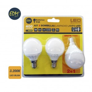 KIT 3 BOMBILLAS LED ESFERICAS 5W E14 3200K LUZ CALIDA  EDM 98200