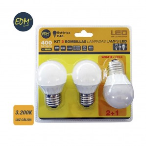 KIT 3 BOMBILLAS LED ESFERICAS 5W E27 3200K LUZ CALIDA  EDM 98201