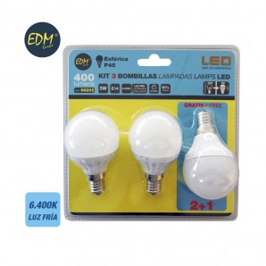 KIT 3 BOMBILLAS LED ESFERICAS 5W E14 6400K LUZ FRIA  EDM 98202