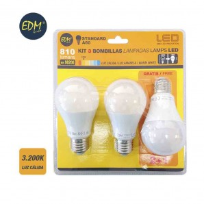 KIT 3 BOMBILLAS LED STANDARD 10W E27 3200K LUZ CALIDA  EDM 98206