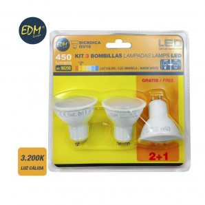 KIT 3 BOMBILLAS LED GU10 5W 3200K LUZ CALIDA APERTURA 120º  EDM 98208