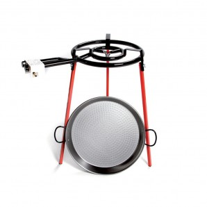 Paella pans and accessories - Set paellera pulida 38cm con tripode y quemador gas 300mm EDM 76609