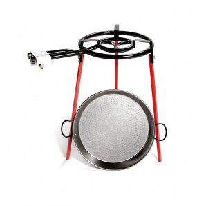 Paella pans and accessories - Set paellera pulida 46cm con tripode y quemador de gas 400mm EDM 76969