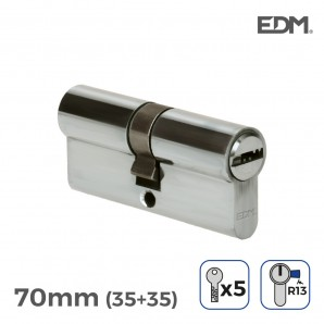 Locksmithing - Bombin niquel 70mm (35+35mm) con 5 llaves seguridad incluidas edm EDM 85182