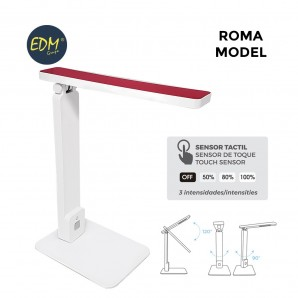 Flexo LED sobremesa 5w modelo ROMA blanco/rojo interruptor-regulador tactil 220-240V EDM