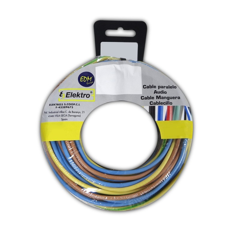 Carrete cablecillo 1,5 mm 3 cables (az-m-t) 20mts xcolor 60mt