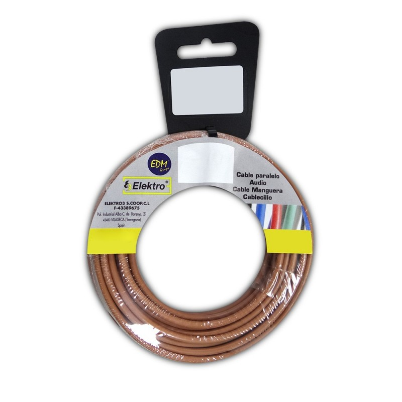 Carrete cablecillo flexible 2,5 mm. marron 25 mts. libre-halogeno