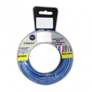 Carrete cablecillo flexible  2,5 mm. azul 50 mts. libre-halogeno