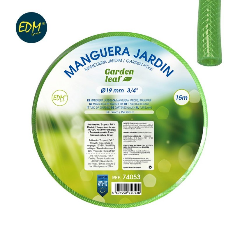 "Manguera jardin diam. int. 19mm diam. ext. 25mm (3/4"") - rollo 15m"