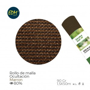 Rollo malla  marron 80% 90gr 1,5x50mts