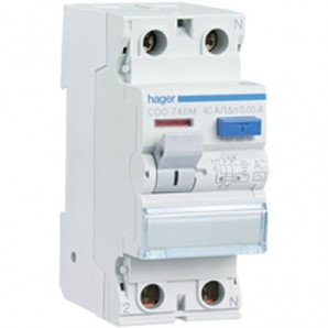 Interruptor diferencial 2P 40A 30 mA AC RESIDENCIAL Hager CDC748M