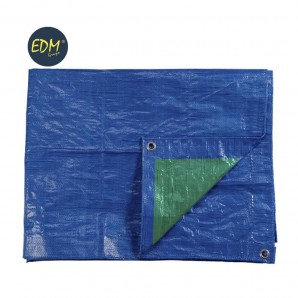 Awning 3x4mts double green blue/face ojetes of metal density 90 gr/m2