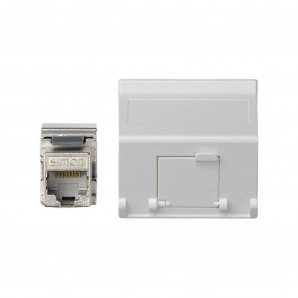 Mechanism Simon - Placa K45 V-D guardapolvo RJ45 categoria 6 FTP blanco nieve SIMON K8096F/9