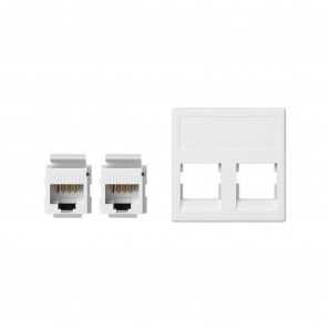 Mechanism Simon - Placa K45 sin guardapolvo 2RJ45 categoria 5E UTP blanco nieve SIMON KB095U/9