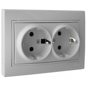 Solera electric mechanisms - Base doble enchufe 2P+TT obturador 16A 250V 154x81 blanco SOLERA ERP60/2U