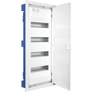 Electrical boxes-metallic - Distribution box for embedding in a hollow partition with 56 elements 362x778x88mm metal frame and door in white SOLERA MP56