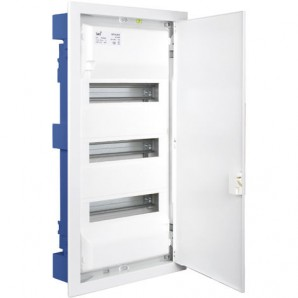 Electrical boxes-metallic - Distribution box to embed in a hollow partition of 42 elements 362x643x88mm metal frame and door in white SOLERA MP42
