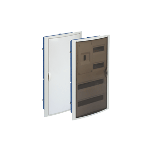 Distribution box for embedding in a hollow partition with 40 elements + 4 sealable 320x670x75 white frame and door SOLERA 5440