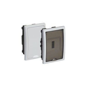 Recessed distribution box with 4 elements 125x195x72mm white frame and smoke door SOLERA 8694PF