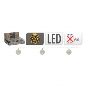Guirnalda a pilas 10 led bolas color plata