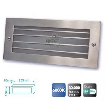 Aluminum wall light with 5W LED grille for recessing GSC 0703406