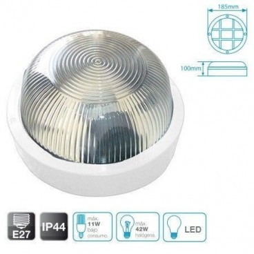 Round thermoplastic wall light E27 white GSC 0700646