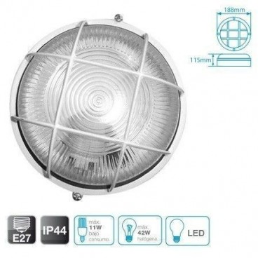 Round aluminum wall light with grid WHITE E27 GSC 0700783