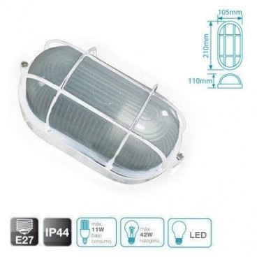Oval aluminum wall light with grid WHITE E27 GSC 0700782