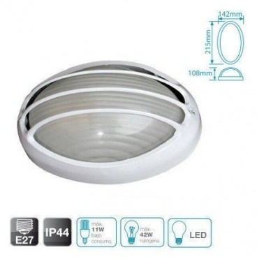 Semi-oval aluminum wall light with grid WHITE E27 IP44 GSC 0700455