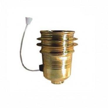 Brass lampholder with thread, washers + handle E27 LB 31208