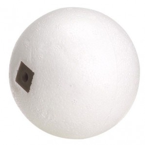 "White Styrofoam Float 3/8"" x 9 Ø mm. Screw 3/16""."